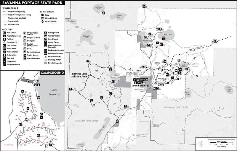 Savanna Portage State Park (Winter Map)