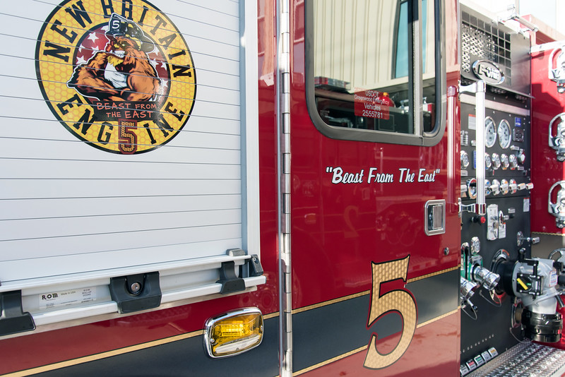 11/14/18  Wesley Bunnell | Staff  The New Britain Fire Department unveiled three new fire trucks on Wednesday afternoon during a ceremony at their Beaver St headquarters. Engine 5 which is nicknamed Beast From The East.