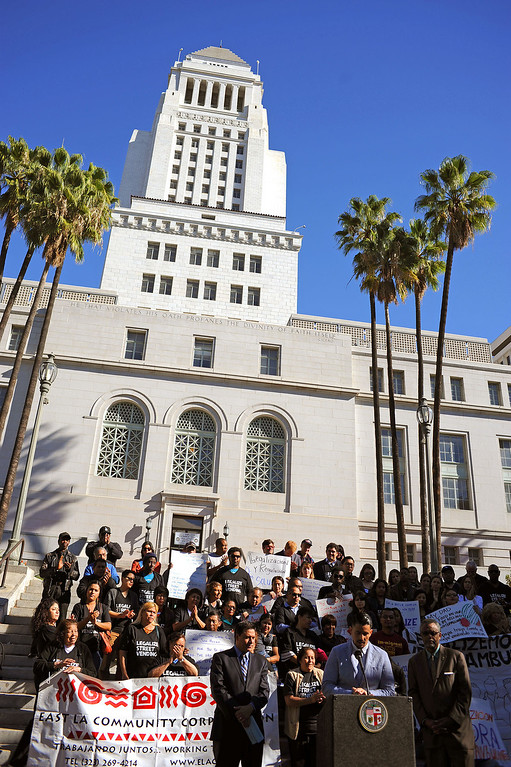 . Street vendors descended on City Hall Wednesday in support of a measure that would legalize street vending in the city of Los Angeles November 6, 2013.(Andy Holzman/Los Angeles Daily News)