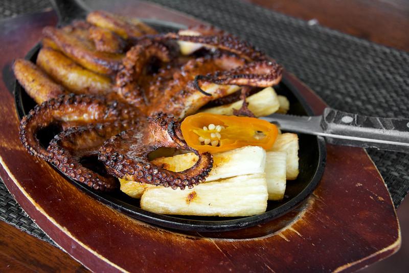 Pulpo A La Parrilla -  whole small octopus on the grill