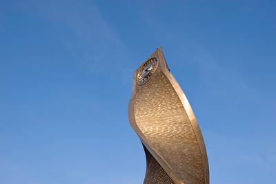 Modern clock tower in Stratford, E15, London, United Kingdom