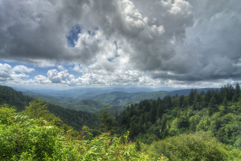 A cloudy day view near Cherokee on the Blue Ridge Parkway in North Carolina on Friday, July 24, 2015. Copyright 2015 Jason Barnette