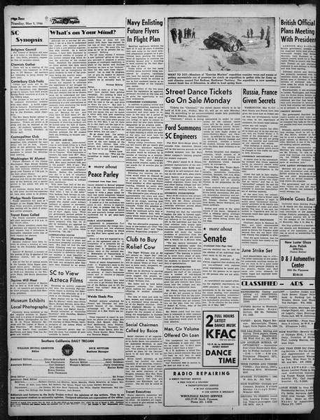 Daily Trojan, Vol. 37, No. 124, May 09, 1946