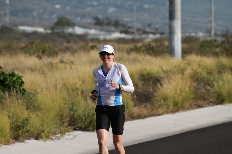 "Carrie at Mile 11 on the run - ""This is really hard, but I am going to make it"""