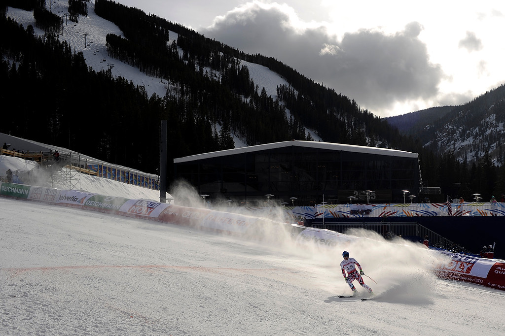 . BEAVER CREEK, CO - FEBRUARY 03: Matthias Mayer finishes his run during the the men\'s downhill training. FIS Alpine World Ski Championships 2015 on Tuesday, February 3, 2015. (Photo by AAron Ontiveroz/The Denver Post)