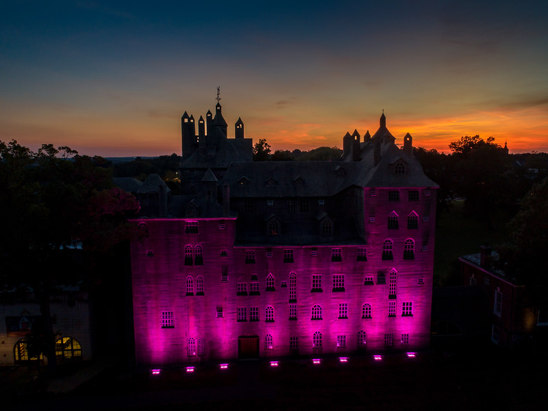 Mercer Museum at sunset drone view