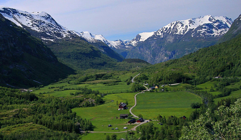 This is a peaceful valley resting high above Geirangerfjord, but well below Mt. Dalsnibba which is behind the camera.