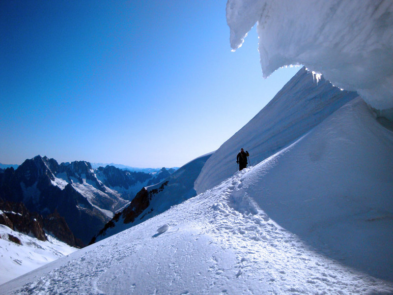 Coming over the shoulder of Mt Blanc du Tacul.