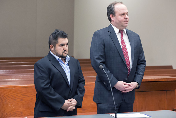 02/14/20 Wesley Bunnell | Staff Emmanuel Story appeared in New Britain Superior Court on charges related to a fatal hit and run in Newington last year. Story stands with Attorney Jeremy Donnelly during the proceeding.