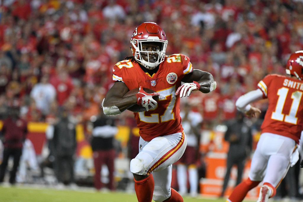 . Kansas City Chiefs running back Kareem Hunt (27) carries the ball during the second half of an NFL football game against the Washington Redskins in Kansas City, Mo., Monday, Oct. 2, 2017. (AP Photo/Ed Zurga)