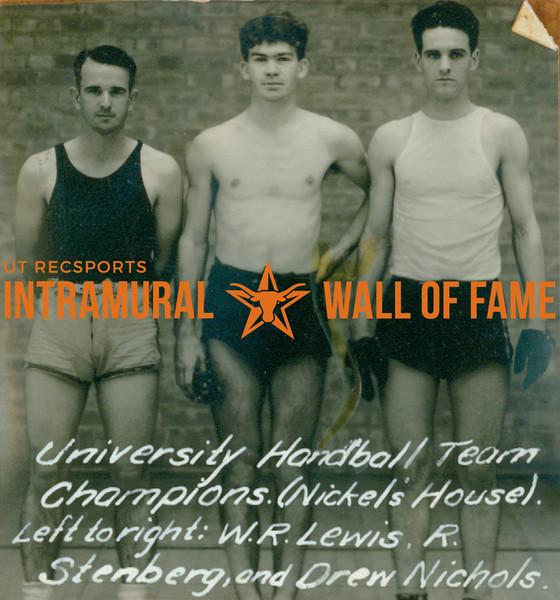 HANDBALL University Team Champions  Nickel's House  W. R. Lewis, R. Stenberg & Drew Nichols