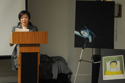 Jessica Sun Lee reading excerpts from her novel-in-progress.  Her poems and paintings depict the frustration of having limited access to the past, and the increasing awareness of not fully belonging, but loving, and yearning to be loved.