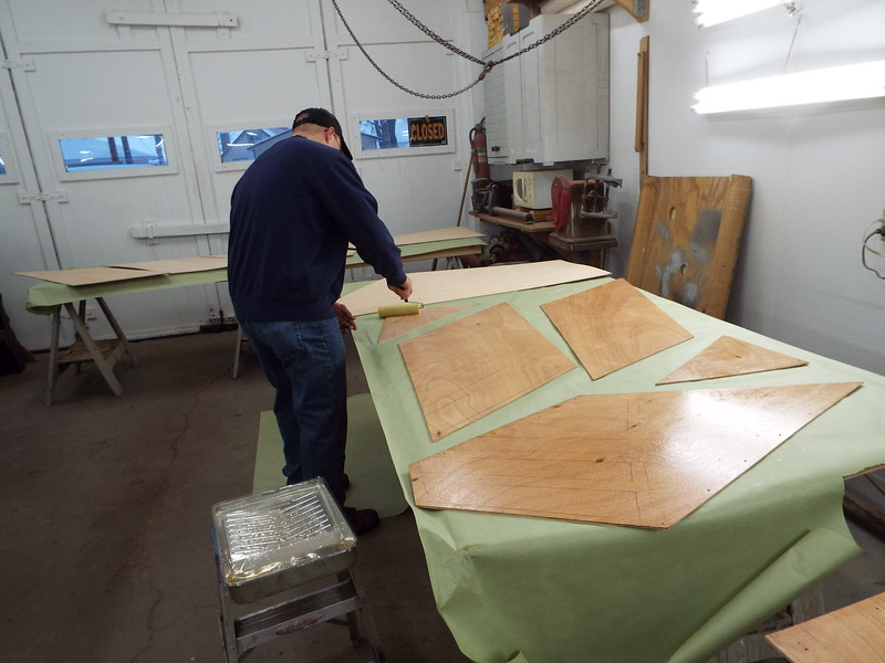 Another view of the first coat of epoxy being applied.