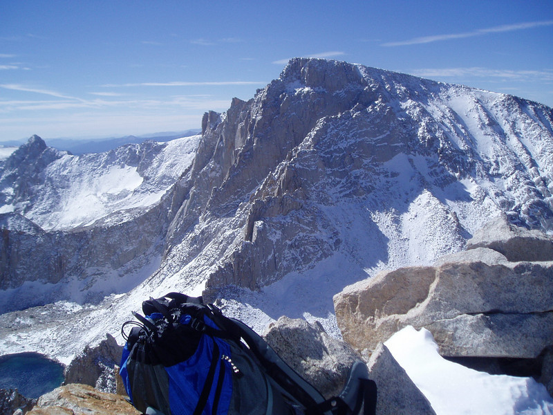 Mt. McAdie, Trail Crest and Mt. Whitney. Iceberg Lake in the left corner