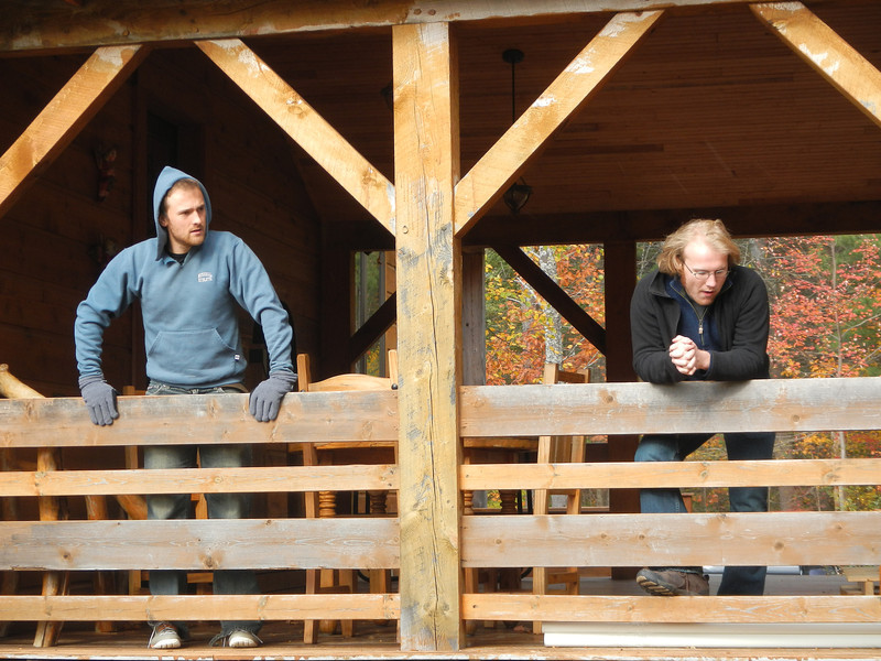 Aaron (left) and Billy Sharff, the producers and directors of Shakespeare's Daughter, on the deck of Sugar Run.