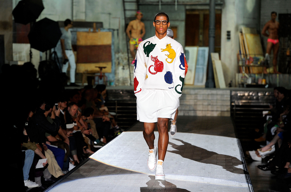 . A model wears a creation for Dsquared2 men\'s Spring-Summer 2015 collection, part of the Milan Fashion Week, unveiled in Milan, Italy, Tuesday, June 24, 2014. (AP Photo/Giuseppe Aresu)