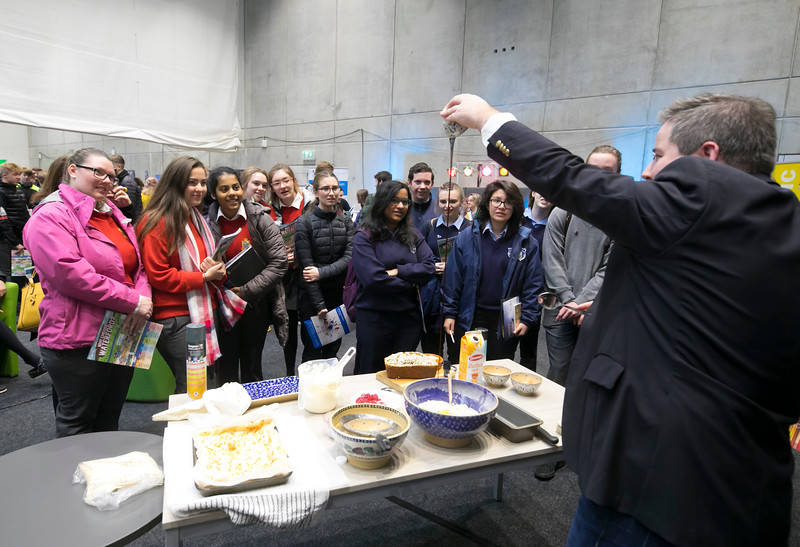 FREE TO USE IMAGE. Pictured at WIT's Autumn Open Days in the WIT Arena during Chef Edward Hayden cookery Demo. Picture: Patrick Browne  WIT's Autumn Open Days in the WIT Arena were on Friday, 23 November and Saturday, 24 November 2018. The Schools Open Day on Friday attracted thousands of secondary school students.  The event focused on undergraduate entry for September 2019 but also showcases the opportunities for postgraduate learning and research and flexible study through our School of Lifelong Learning & Education.  The institute has 70 CAO courses across a range of discipines including,business,engineering and architecture, sports and nursing, law, social sciences, arts and psychology, the creative & performing arts, languages, tourism and hospitality, science and computing.   WIT's Autumn Open Days included presentations on all CAO courses, including new courses for 2019, as well as the opportunity to experience what it would be like to study on those courses and talk to lecturers directly.