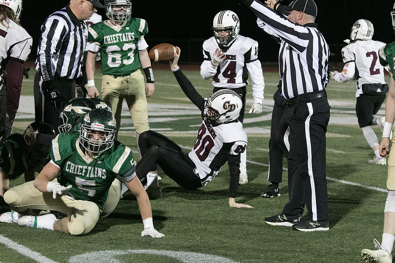 Nashoba Regional High School football hosted Groton Dunstable Regional high School on Friday night, Nov. 15, 2019. GDRHS's Matt Lamarre holds the ball up high after jumping on a fumble for a NRHS turnover. SENTINEL & ENTERPRISE/JOHN LOVE
