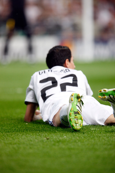 Di Maria fallen down on the ground, UEFA Champions League Semifinals game between Real Madrid and FC Barcelona, Bernabeu Stadiumn, Madrid, Spain
