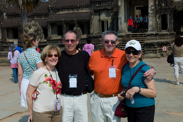 Fran and Mark Aronowitz with Burt and Susan Rein at Angkor Wat.