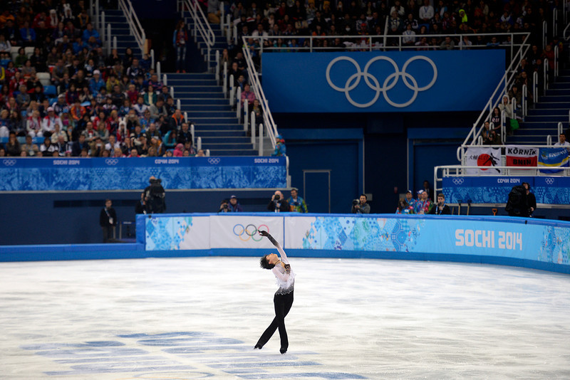 . Gold medalist Yuzuru Hanyu performs during the men\'s figure skating free skate. Sochi 2014 Winter Olympics on Friday, February 14, 2014. (Photo by AAron Ontiveroz/The Denver Post)