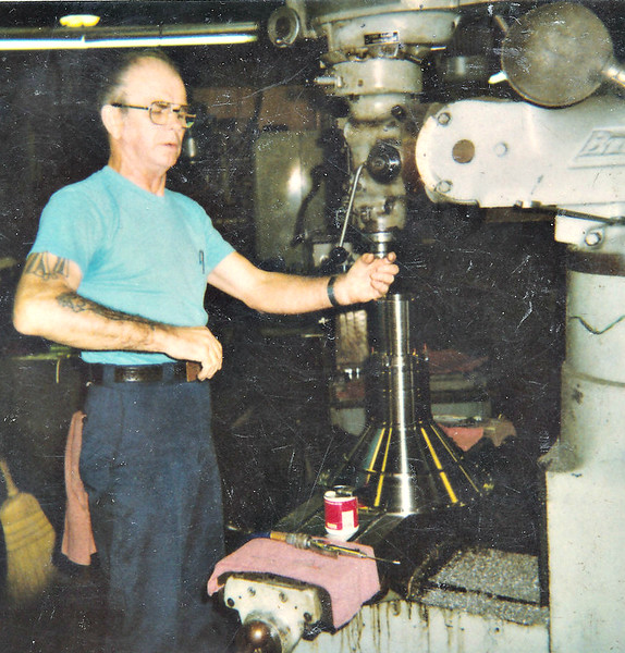 Leslie Gran at the job he was doing at the time of his retirement from Machine Products September 13, 1991.