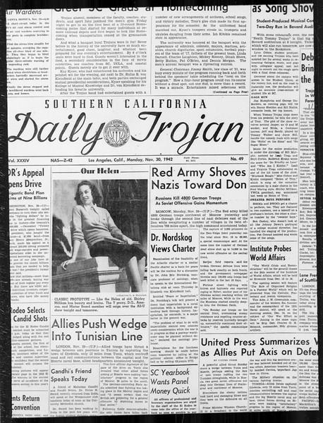 Daily Trojan, Vol. 34, No. 49, November 30, 1942