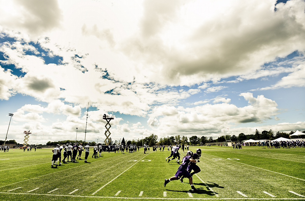 . A view of Vikings training camp in Mankato, Minn., on Friday, July 26, 2013. (Pioneer Press: Ben Garvin)