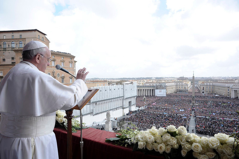 ". Pope Francis speaks during his ""Urbi et Orbi\"" (To the City and the World) address from a balcony in St. Peter\'s Square at the Vatican March 31, 2013. REUTERS/Osservatore Romano"