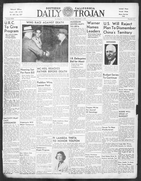 Daily Trojan, Vol. 29, No. 31, November 01, 1937