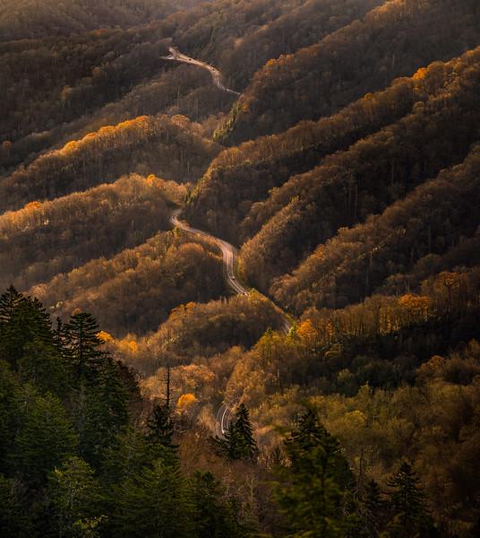 road traveling through smoky mountains