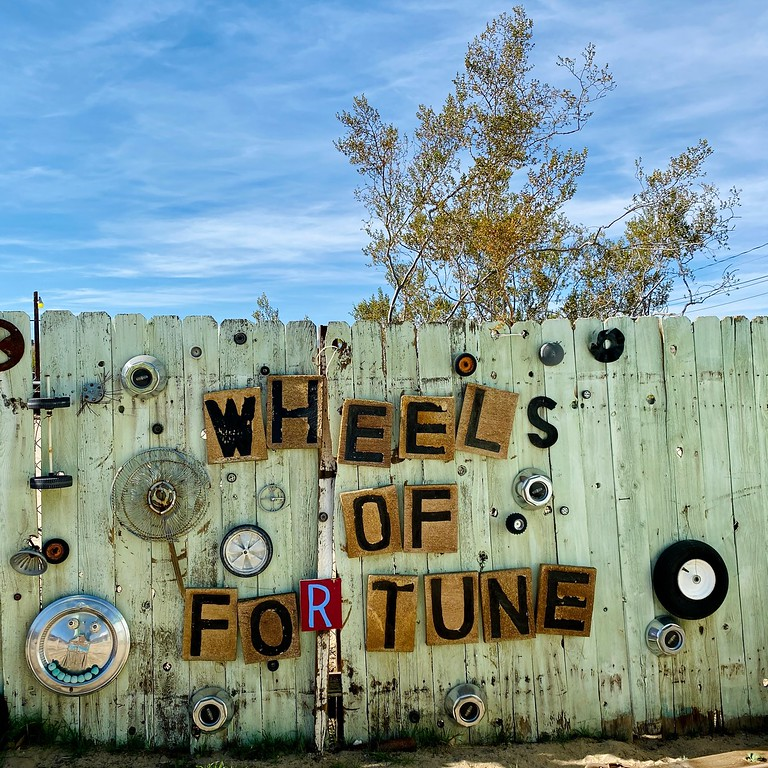 wheels of fortune fence at the world famous crochet museum in joshua tree california