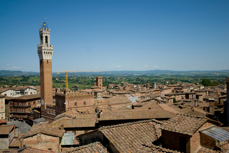 The Palazzo Pubblico Town Hall tower in Siena, Italy