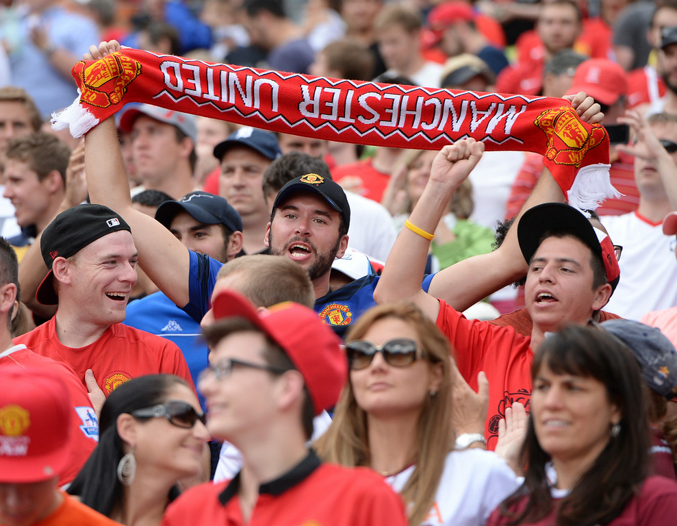 . Manchester United fans enjoyed the win Saturday. Manchester United defeated AS Roma 3-2 in an exhibition soccer game at Sports Authority Field in Denver Saturday afternoon, July 27, 2014. Photo by Karl Gehring/The Denver Post