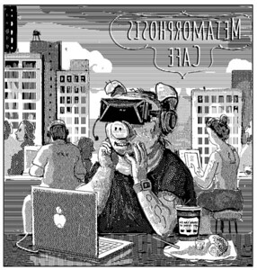 A guy wearing Oculus 3D gaming goggles smiles at something he's seeing in a game as all around him is environmental destruction