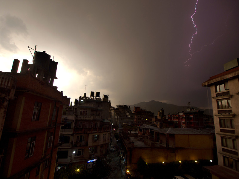Lightning Over Kathmandu - Nepal  An evening lighting storm over the Thamel district of Kathmandu. Electrical cloudbursts such as this are a frequent occurrence in the pre-monsoon spring months.