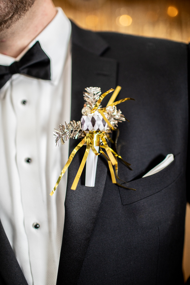New Year's Eve wedding in Washington DC boutonniere.