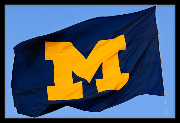 M Flag  The Maize & Blue Michigan flag, flying over the Central Campus Diag  University of Michigan, Ann Arbor  18-OCT-2007