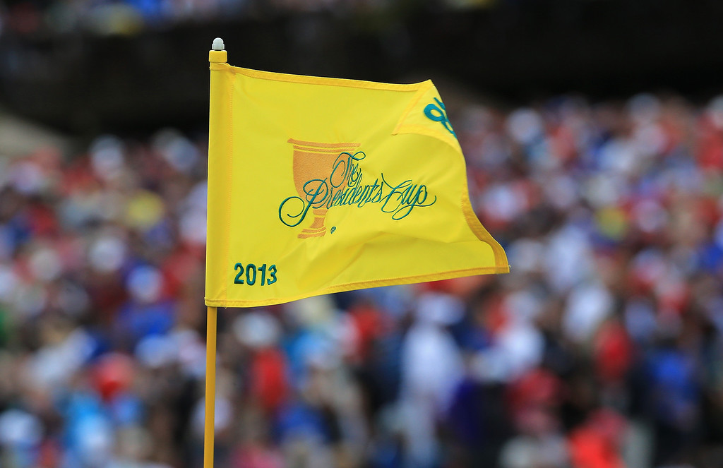 . A flagstick is seen on the 18th hole during the Day Four Singles Matches at the Muirfield Village Golf Club on October 6, 2013  in Dublin, Ohio.  (Photo by David Cannon/Getty Images)