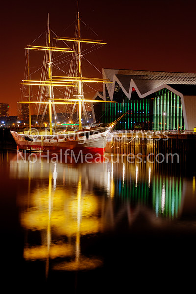 'Tall Ship' - The Glenlee moored at the Riverside transport museum, Glasgow, Scotland