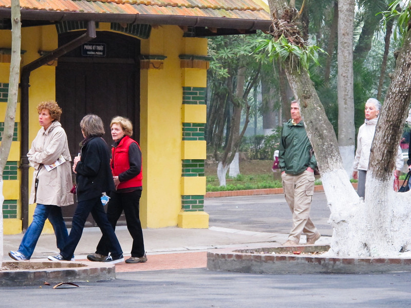 Ho Chi Minh's residence in Hanoi.  Lynn Kaston, Susan Rein and Fran Aronowitz, followed by Ray and Erma Cabano.