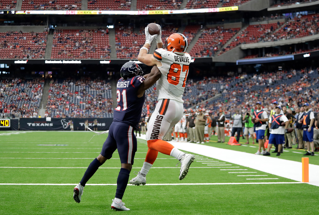 . Houston Texans safety Marcus Gilchrist (21) defends as Cleveland Browns tight end Seth DeValve (87) catches a pass in the end zone for at touchdown in the second half of an NFL football game, Sunday, Oct. 15, 2017, in Houston. (AP Photo/Eric Gay)