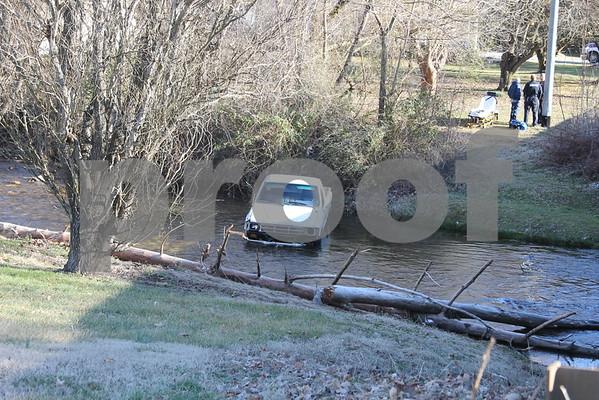 Car Wrecks Into Creek - January 2015