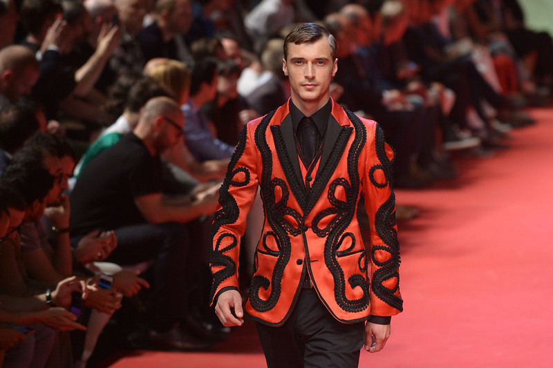 . A model presents a creation for Dolce Gabbana Menswear Spring-Summer 2014 collection on June 21, 2014 during the Men\'s fashion week in Milan. (TIZIANA FABI/AFP/Getty Images)