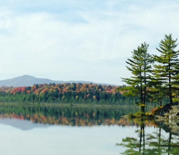 fall foliage reflected in a lake