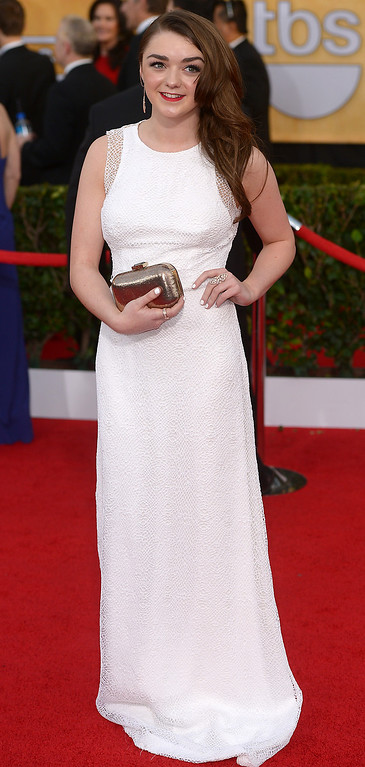. Maisie Williams arrives at the 20th Annual Screen Actors Guild Awards  at the Shrine Auditorium in Los Angeles, California on Saturday January 18, 2014 (Photo by Michael Owen Baker / Los Angeles Daily News)