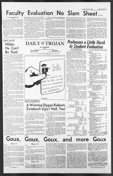Daily Trojan, Vol. 58, No. 110, April 24, 1967