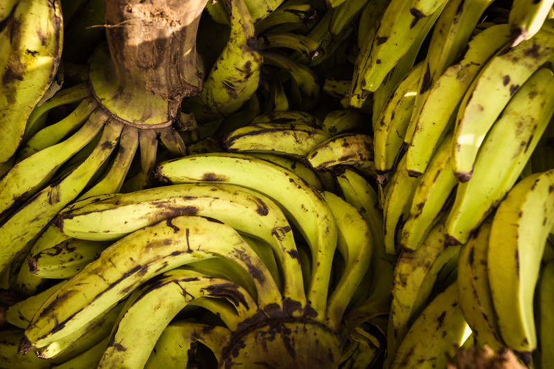 A pile of plantains at the Dome Market.