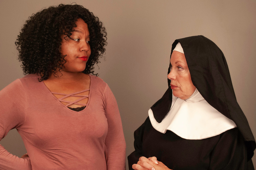 ". Aja Norman, left, is Deloris van Cartier and Sharon Lloyd is Mother Superior in ""Sister Act,\"" on stage at Chagrin Valley Little Theatre through Aug. 11. For more information, visit cvlt.org. (Submitted)"