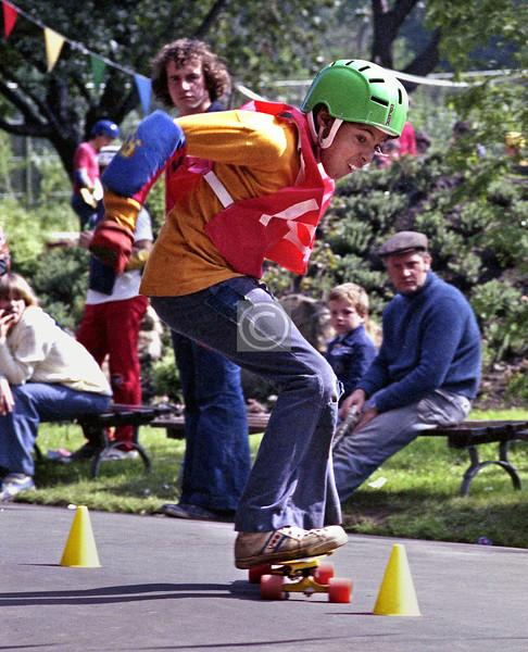 Skateboard competition in Kelvingrove Park, 1978.